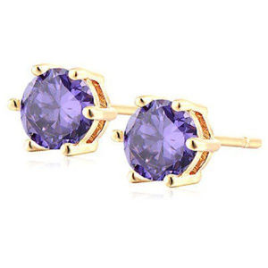 Other - ELEGANT 18K Gold Plated Round Purple Stone Studs